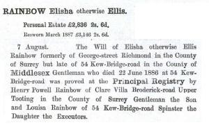Elisha Rainbow Probate